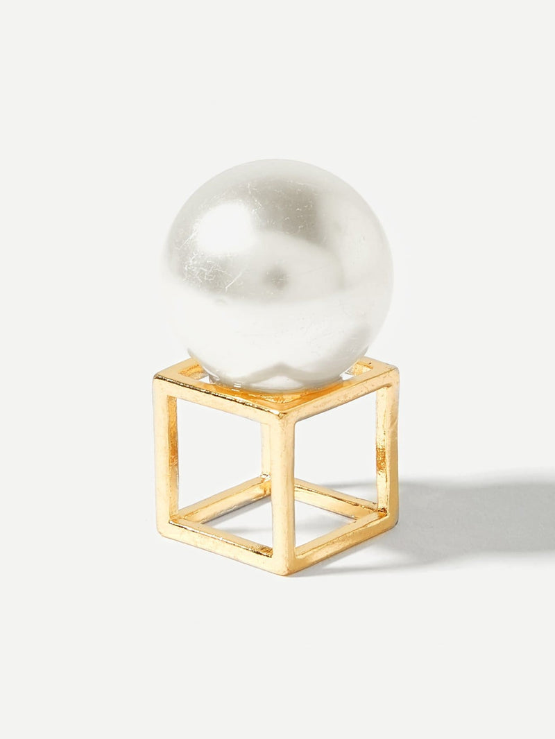 3D Cube Square Hollow Ring - Rings