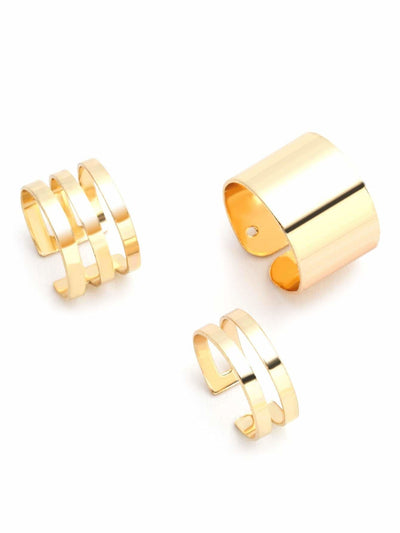3Pcs Gold Plated Hollow Out Ring Set - Rings