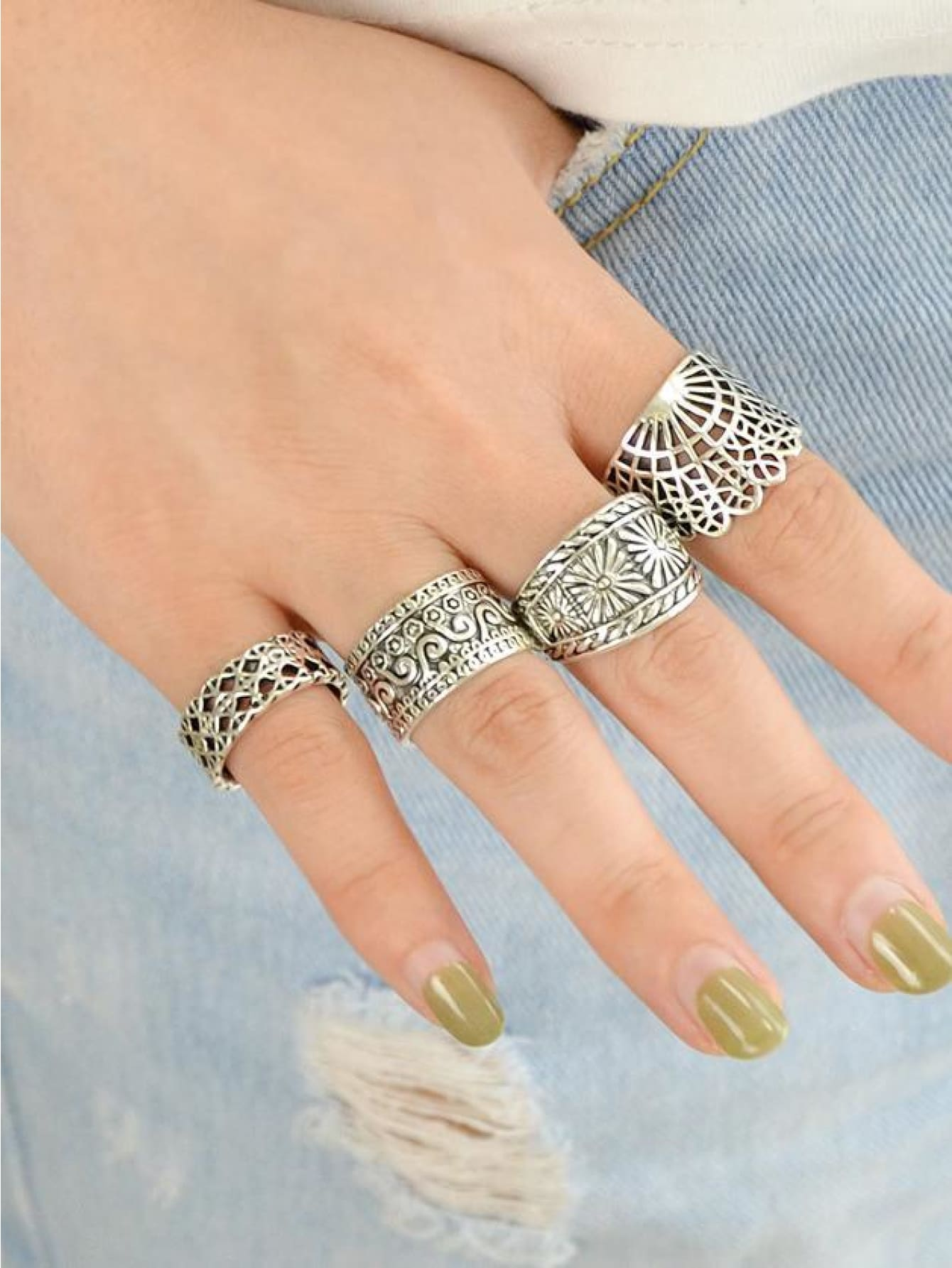 4 Pcs/set Hollow Out Knuckle Ring Set - Rings