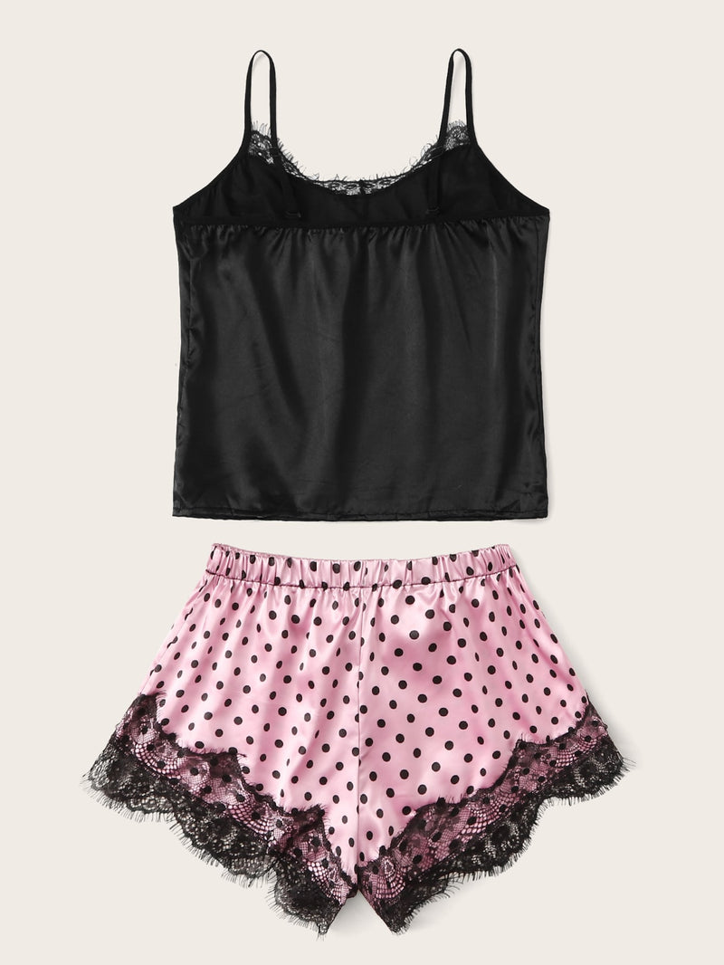 Eyelash Lace Satin Cami With Polka Dot Shorts