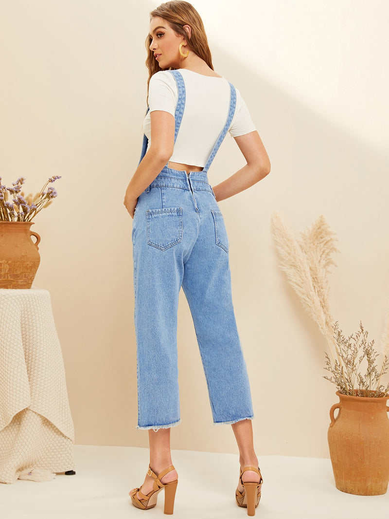 Split Hem Pocket Front Denim Overalls