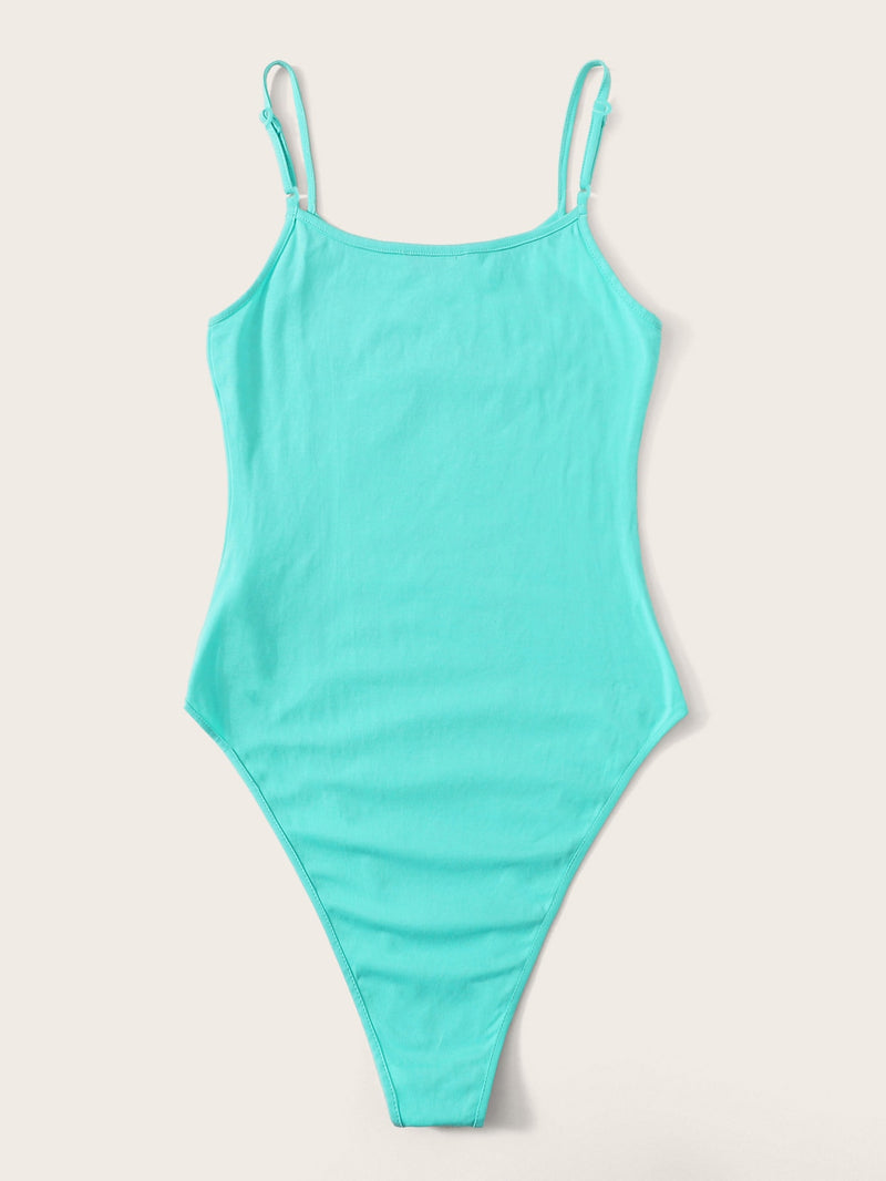 Neon Blue Fitted Cami Bodysuit