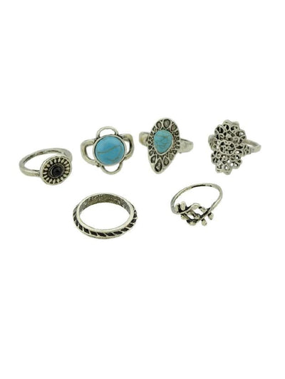 6Pcs/set Branches Pattern Blue Stone Rings - Rings