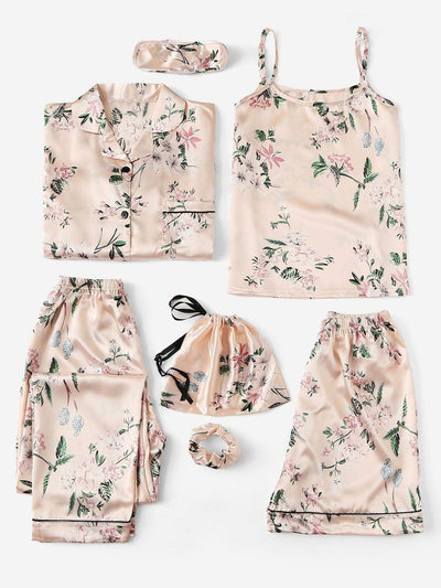 7Pcs Floral Print Satin Cami Pj Set With Shirt - Nightwears