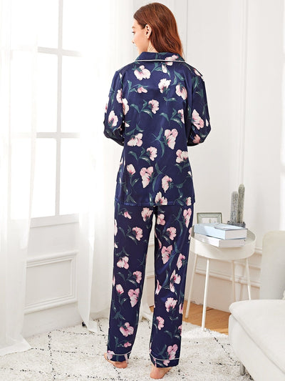 7Pcs Floral Print Satin Pajama Set - Nightwears