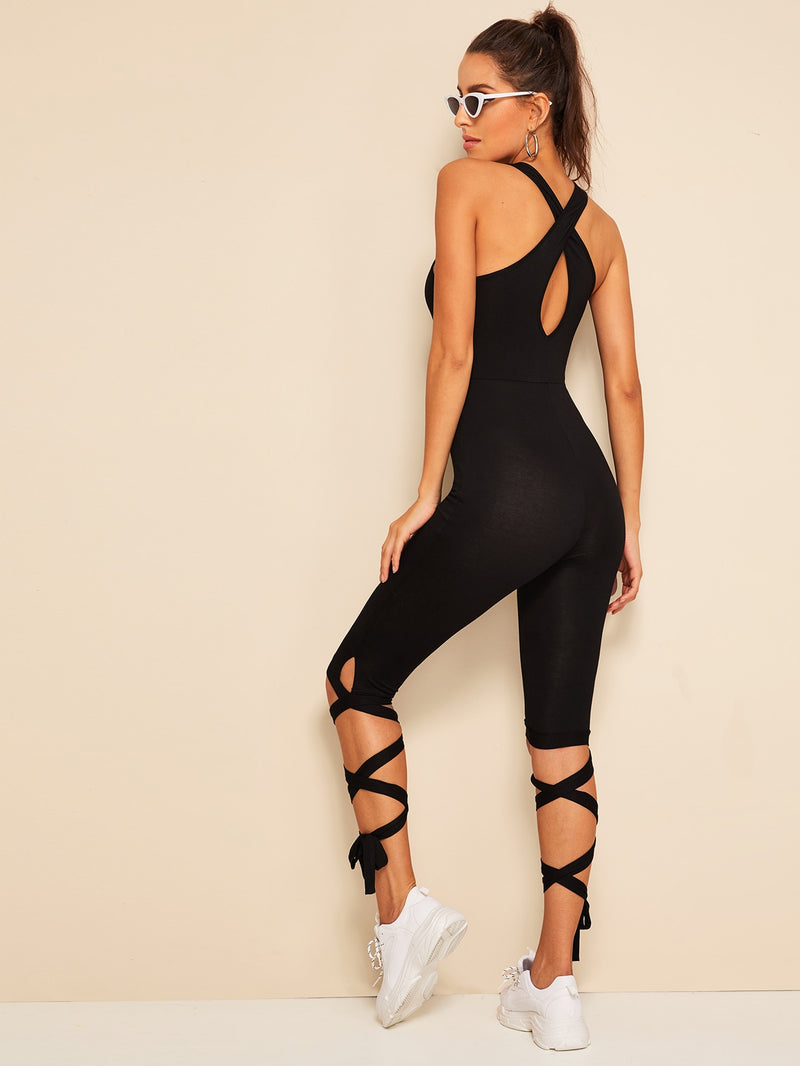 Crisscross Back Lace-up Hem Unitard Jumpsuit