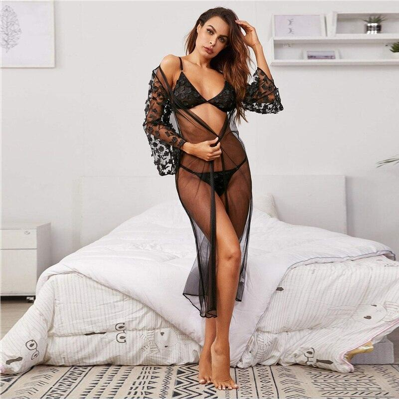 Black Appliques Mesh Lingerie Set With Long Sheer Robe
