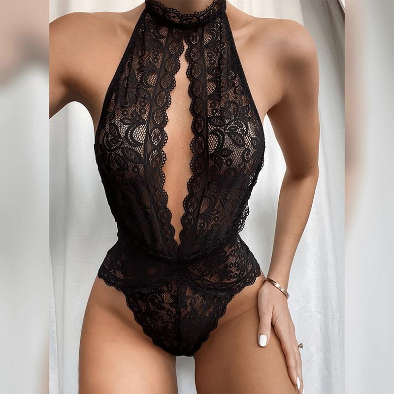 Black Deep-V Backless Bodysuit