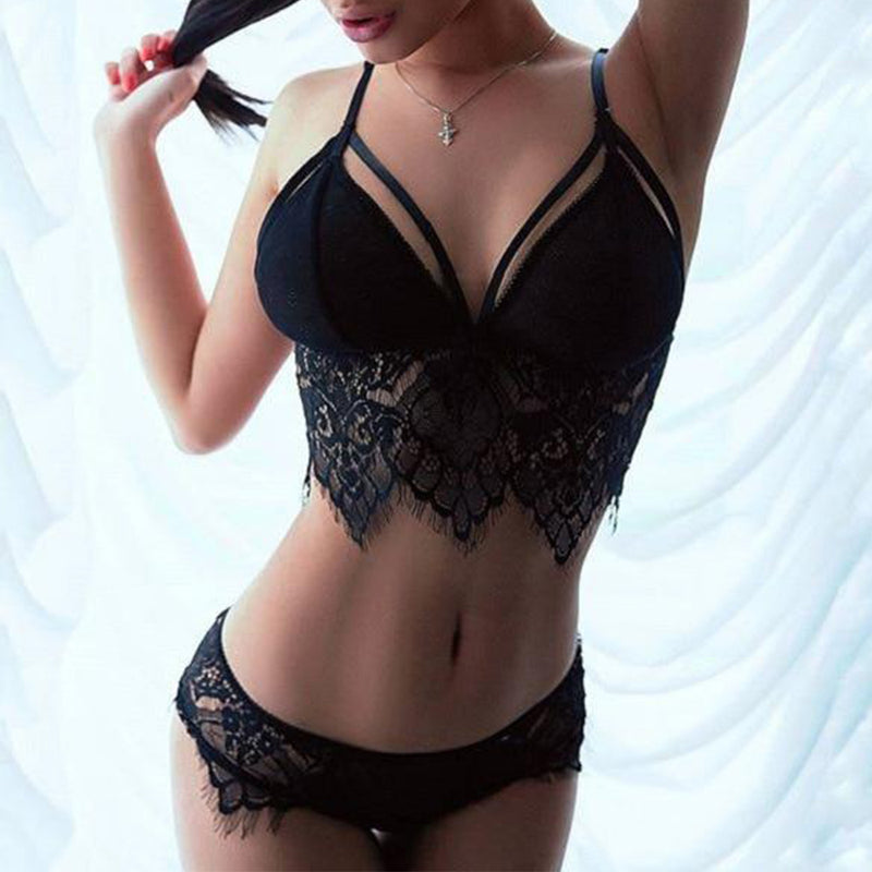 Black Mesh Lace Lingerie Set