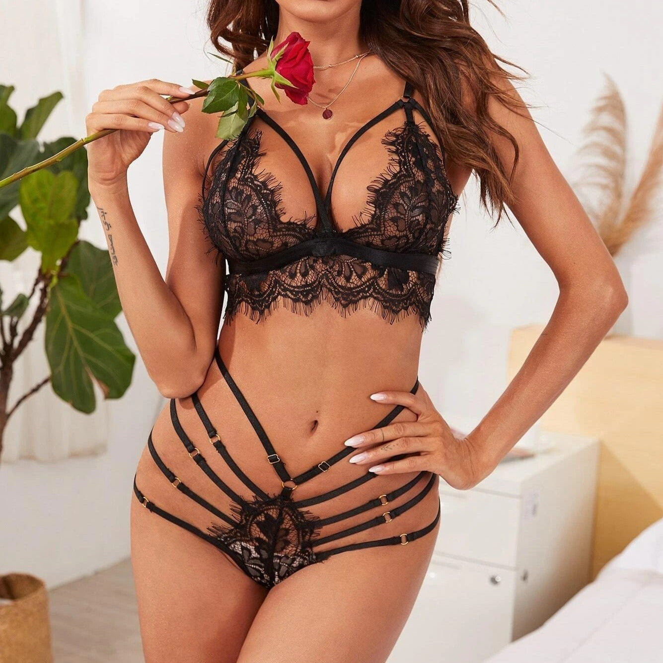 Black Transparent Lace Lingerie Set