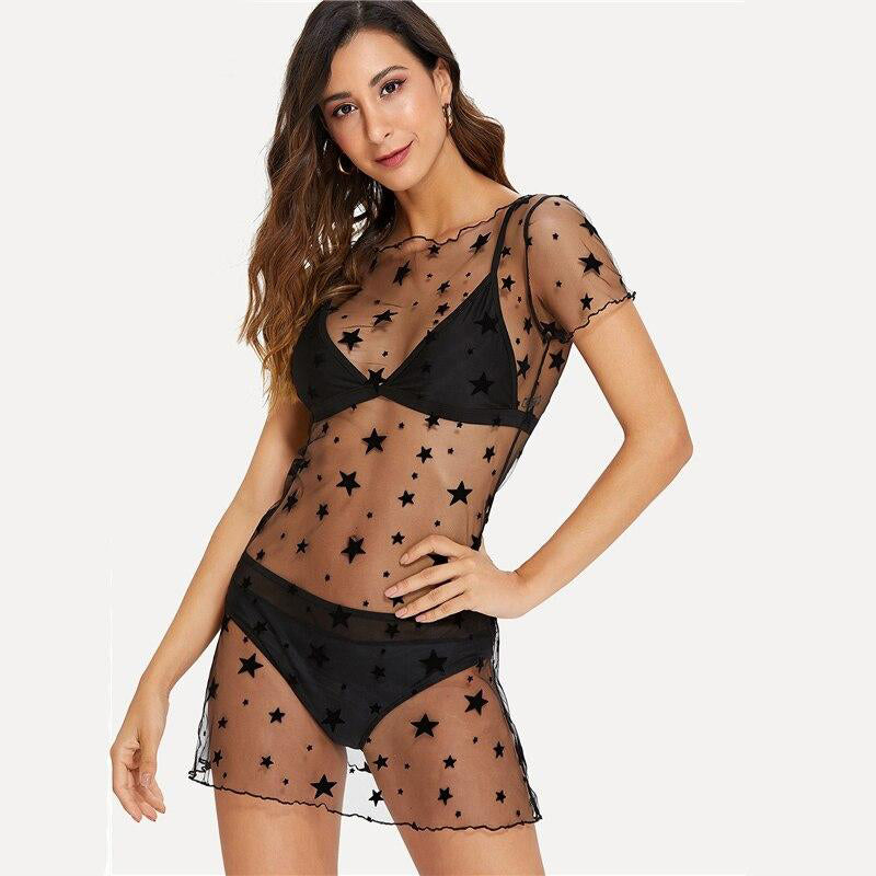 Black Transparent Star Mesh Cover Up