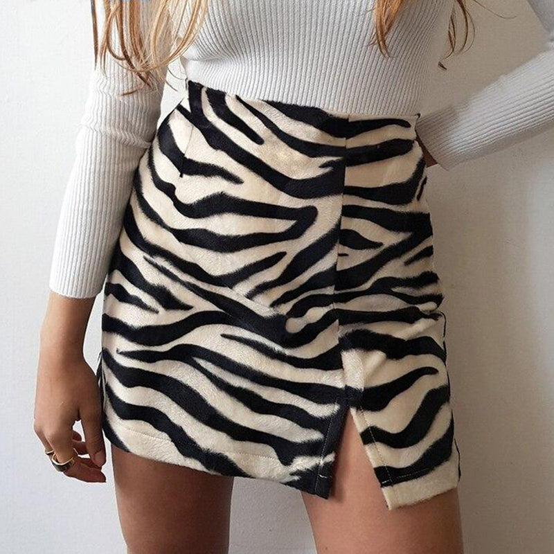 Black White Stripe High-waist Short Skirt