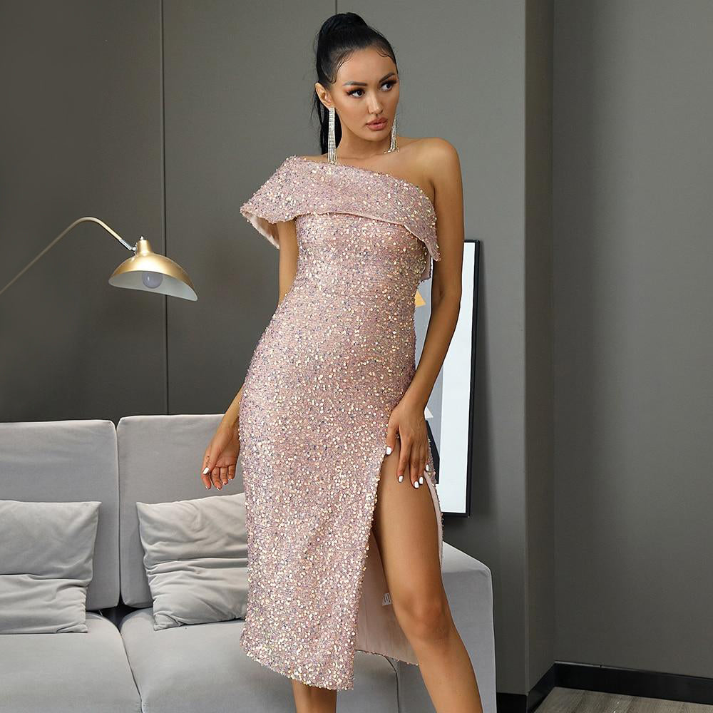 Bodycon Nude Sequin Party Midi Dress