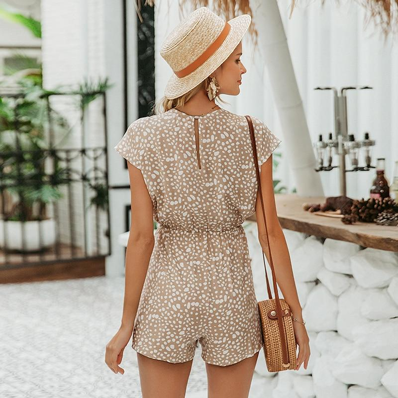 Boho Style Bow Tie Loose V Neck Playsuits