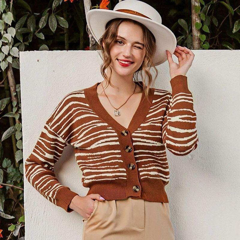 Brown Stripe Off Shoulder Cardigan