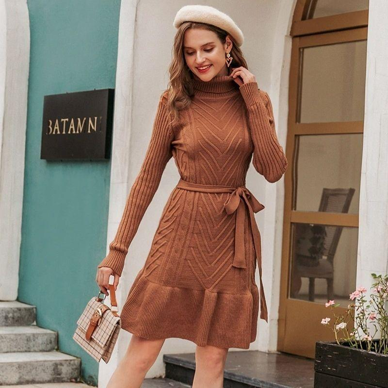 Casual Turtleneck Knitted Midi Dress