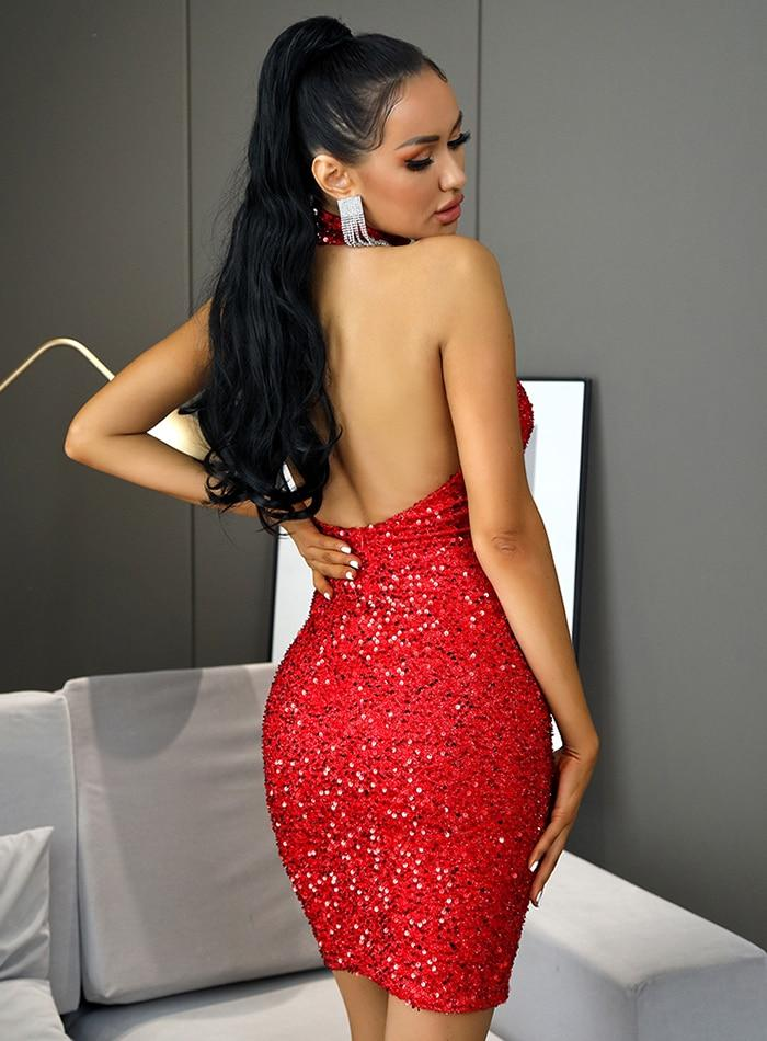 Christmas Red High Neck Backless Bodycon Sequin Mini Party Dress