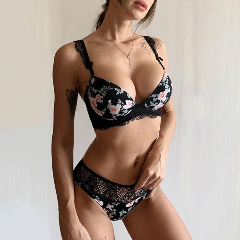 Cotton Lace Push Up Print Lingerie Set