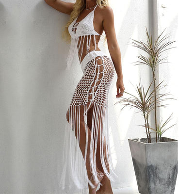 Crochet Hollow Out Tassel Long Cover Up