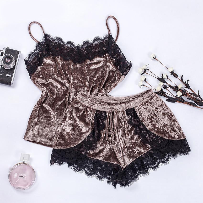 Diamond Velvet Brown Lace Cami Pajamas Set
