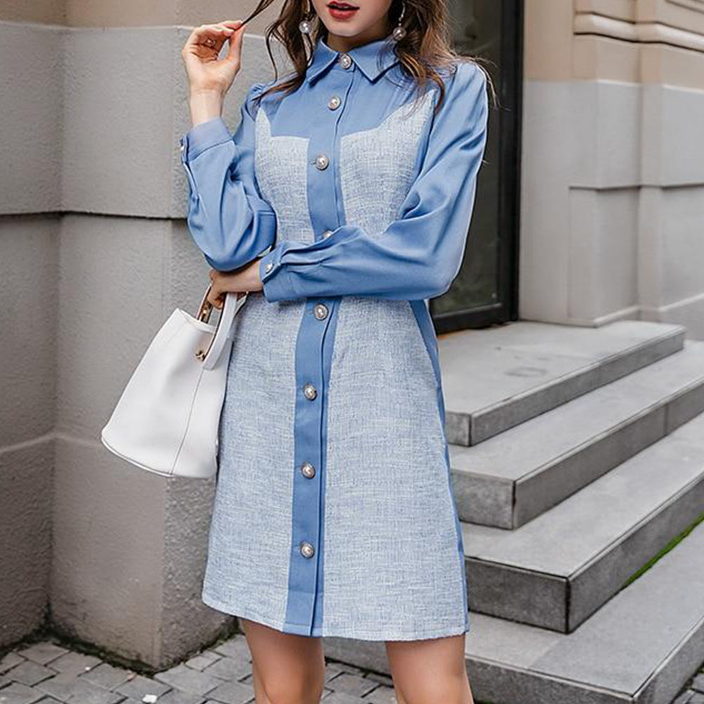 Elegant Blue Button Office Blazer Mini Dress