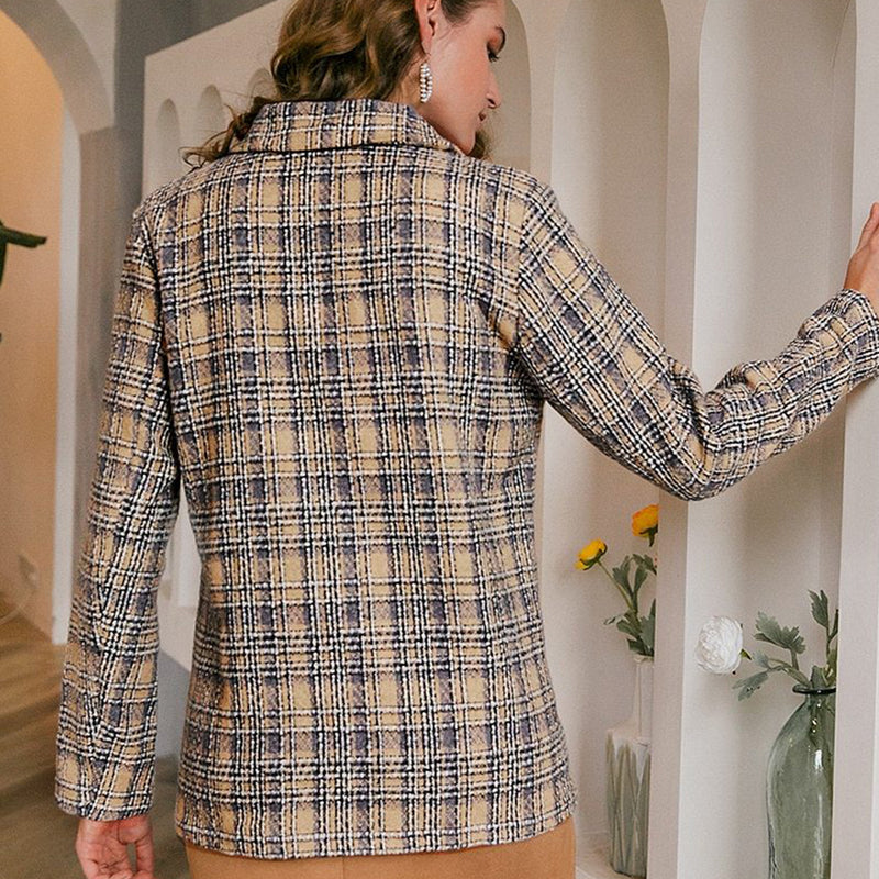 Elegant Plaid Long Sleeve Tweed Office Blazer