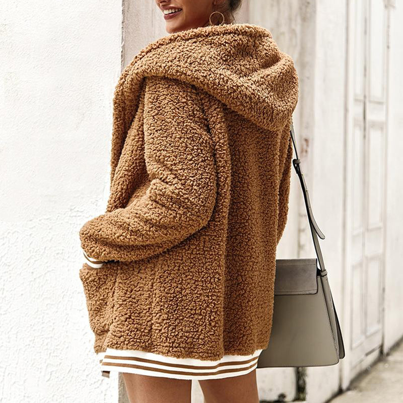 Faux Fur Hooded Fluffy Teddy Coat