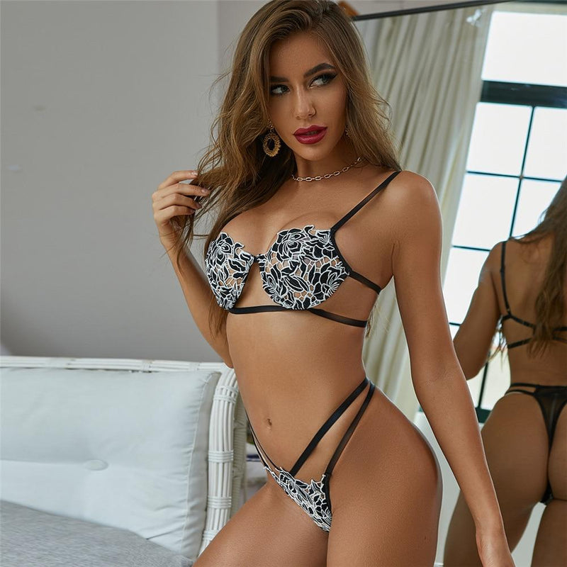 Floral Push Up Hollow Out Lingerie Set