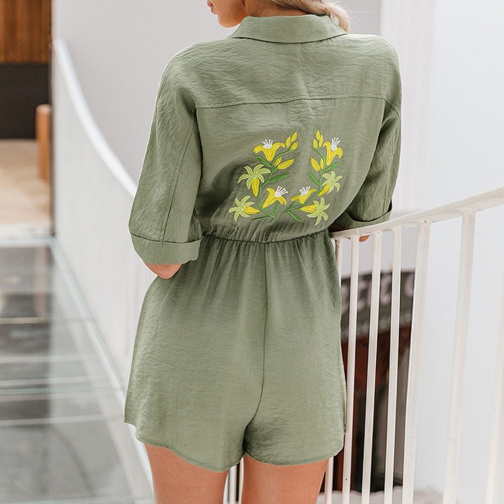 Flower Embroidery Belt Cargo Buttons Playsuits