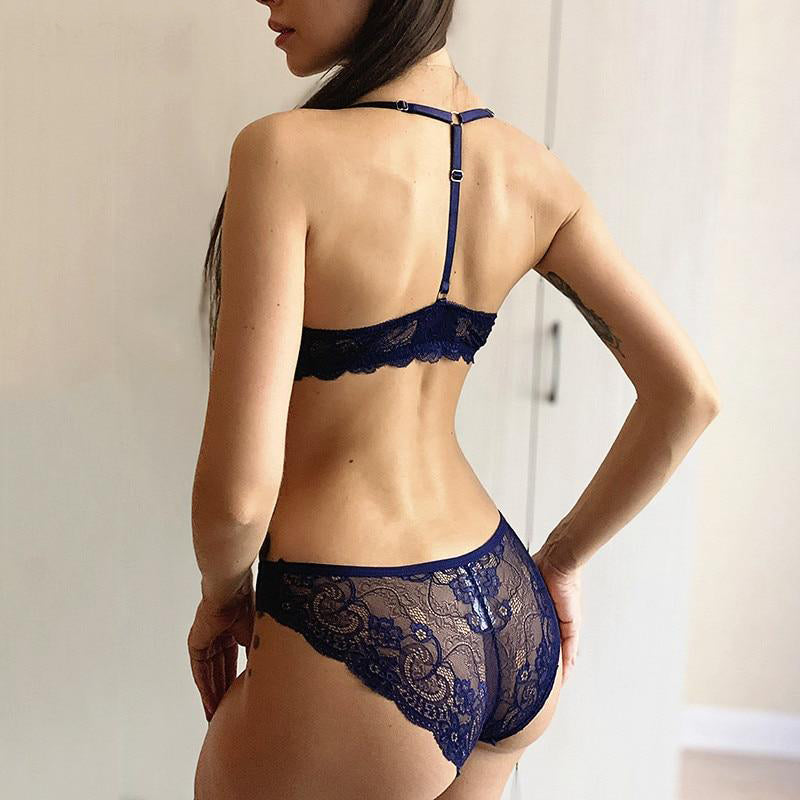 Front Closure Bra Embroidery Lingerie Set