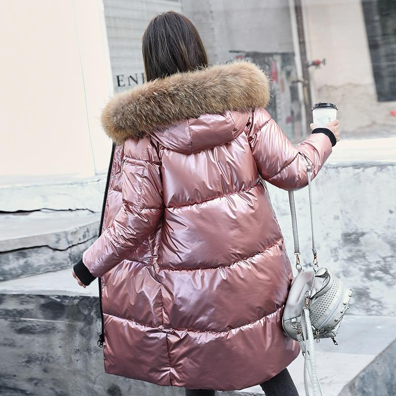 Glossy Fur Coat Long Down Parkas