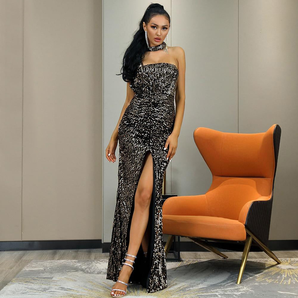 Gold Tube Top Hanging Neck Velvet Sequin Bodycon Party Maxi Dress