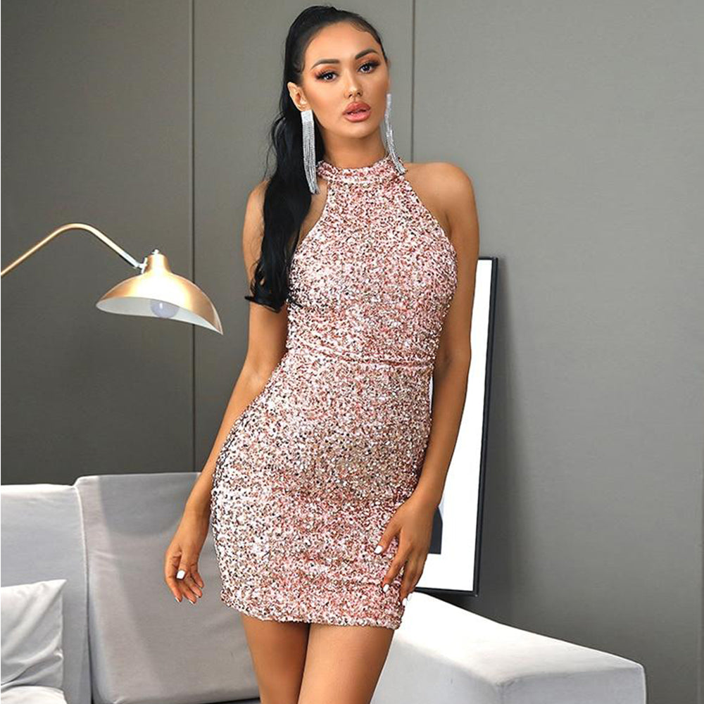Halterneck Pink Velvet Sequin Bodycon Party Mini Dress