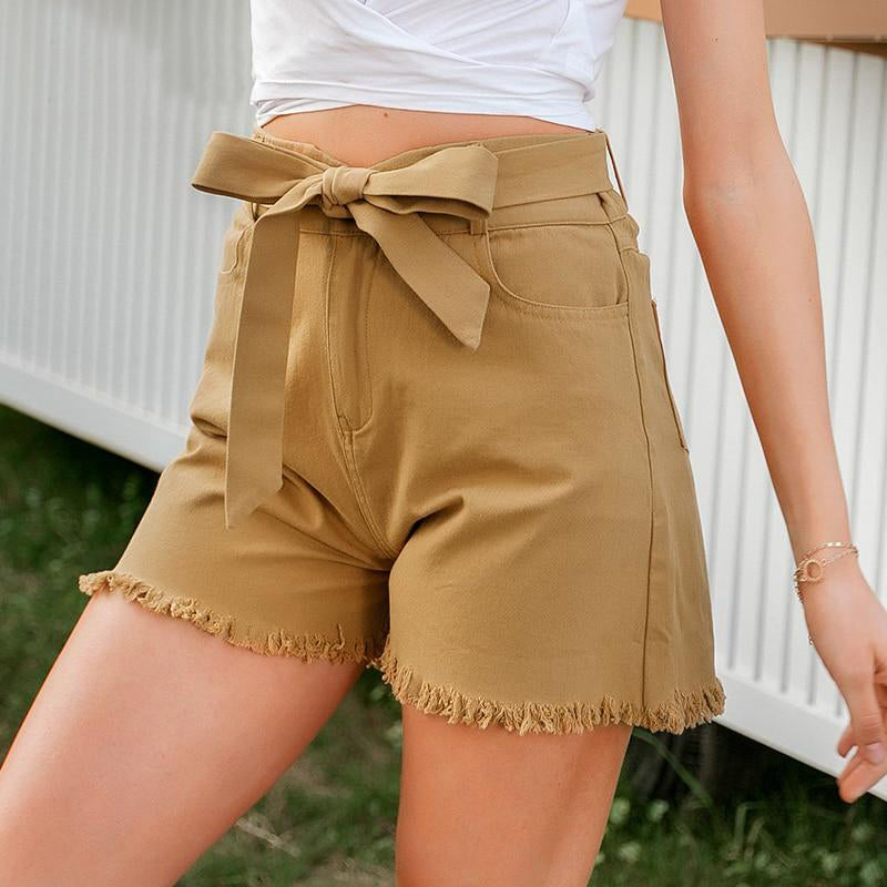 High Waist Bow Tie Sashes Tassel Cotton Shorts