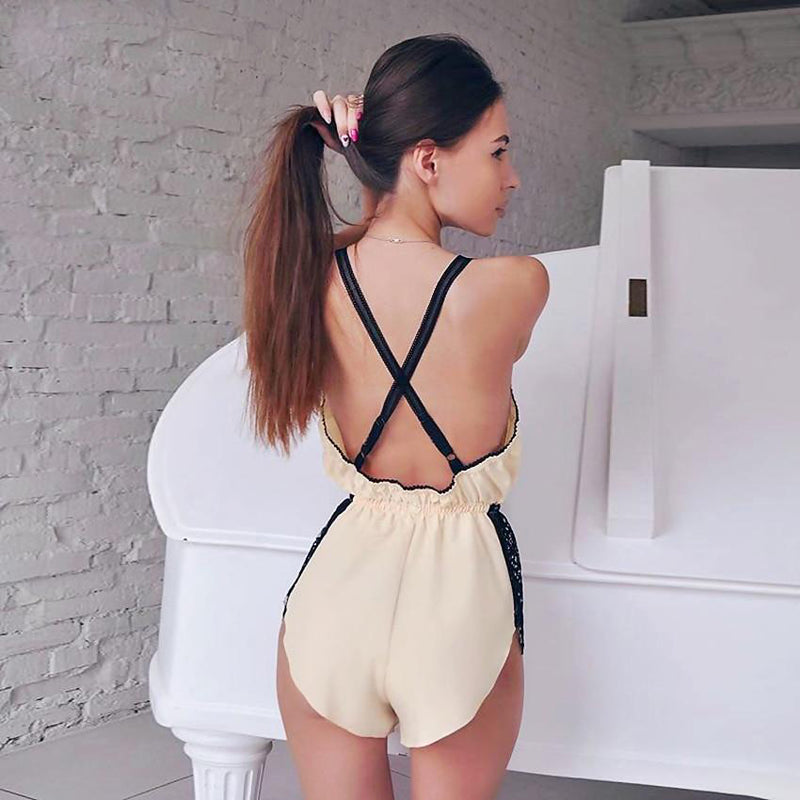Hollow Out Backless Lace Sleepwear Playsuits