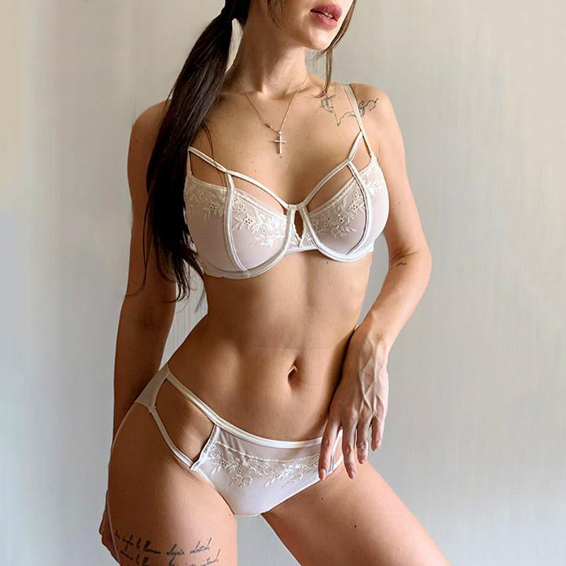 Hollow Out Embroidery Lace Lingerie Set
