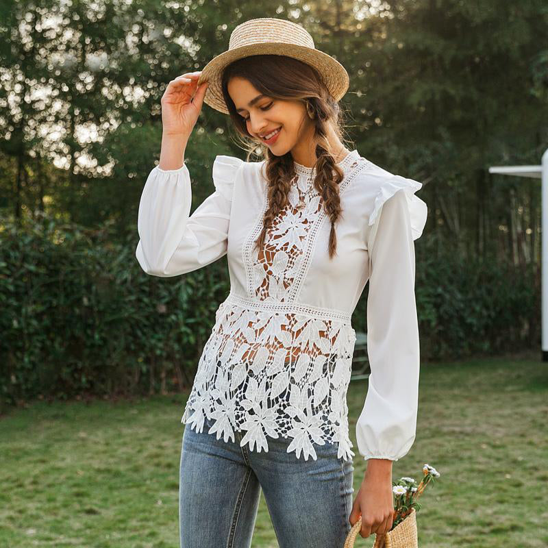 Hollow Out Floral Lace Embroidery Ruffled Tops