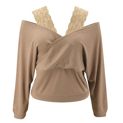 Khaki One Line Collar Pullover