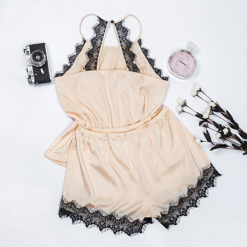 Khaki Silk Lace Cami Top Pajama Set
