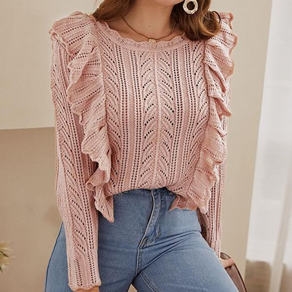 Knitted Pink Long Sleeve Ruffled Sweater