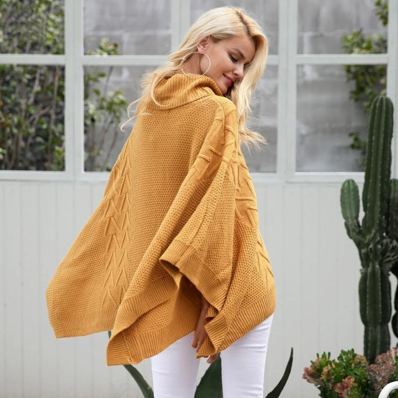 Knitted Turtleneck Pullover Poncho