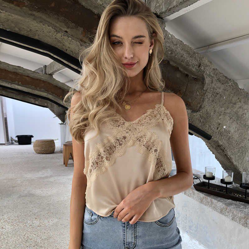 Lace Embroidery Satin V-neck Top