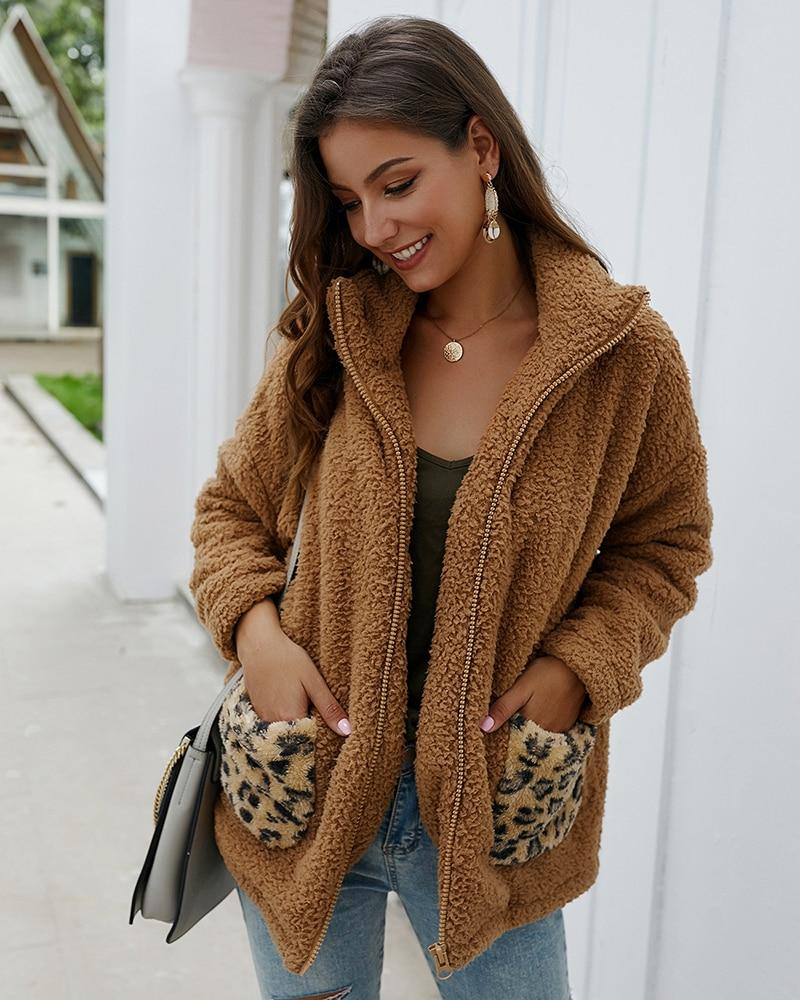 Leopard Patchwork Faux Fur Teddy Coat
