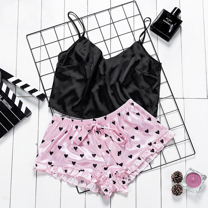 Lovely Heart Print Crop Top And Pink Frill Shorts Pj Set