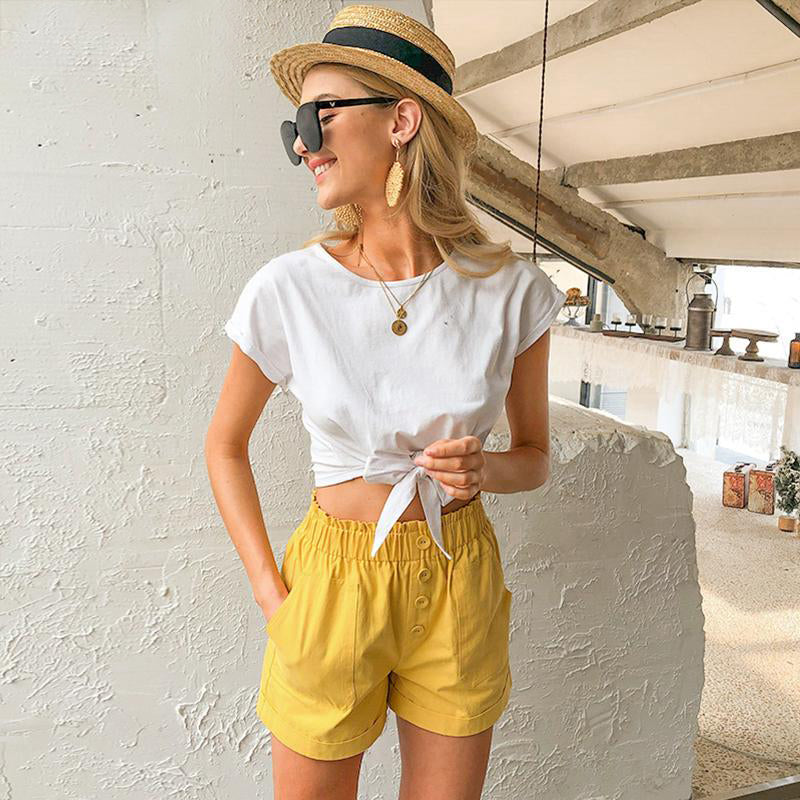 Mid Waist Pockets Cotton Shorts