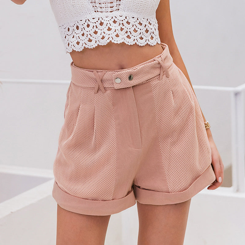 Pink Hollow Out Button Vintage Shorts