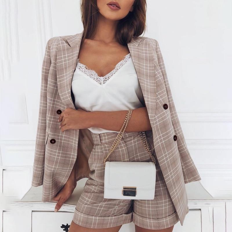 Double Breasted Plaid Office Two-piece Blazer Set
