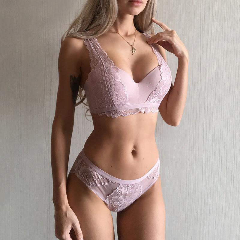 Pink Cotton Deep V Embroidery Lace Lingerie Set