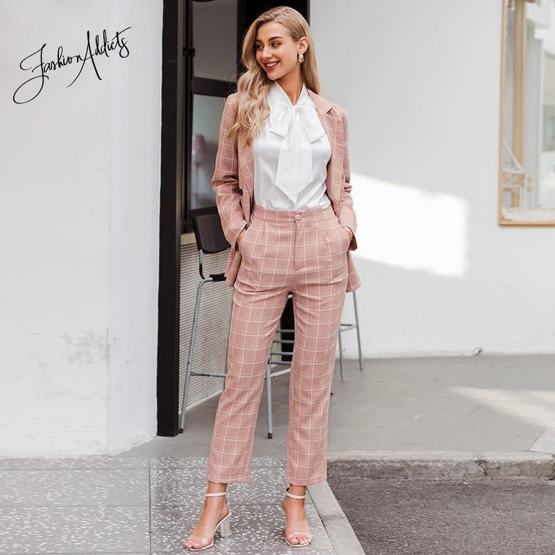 Pink Plaid Double Breasted Blazer Office Two-Piece Set