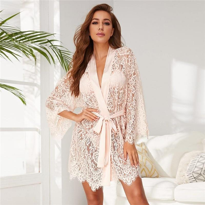 Pink Self Tie Sheer Lace Robe Without Lingerie